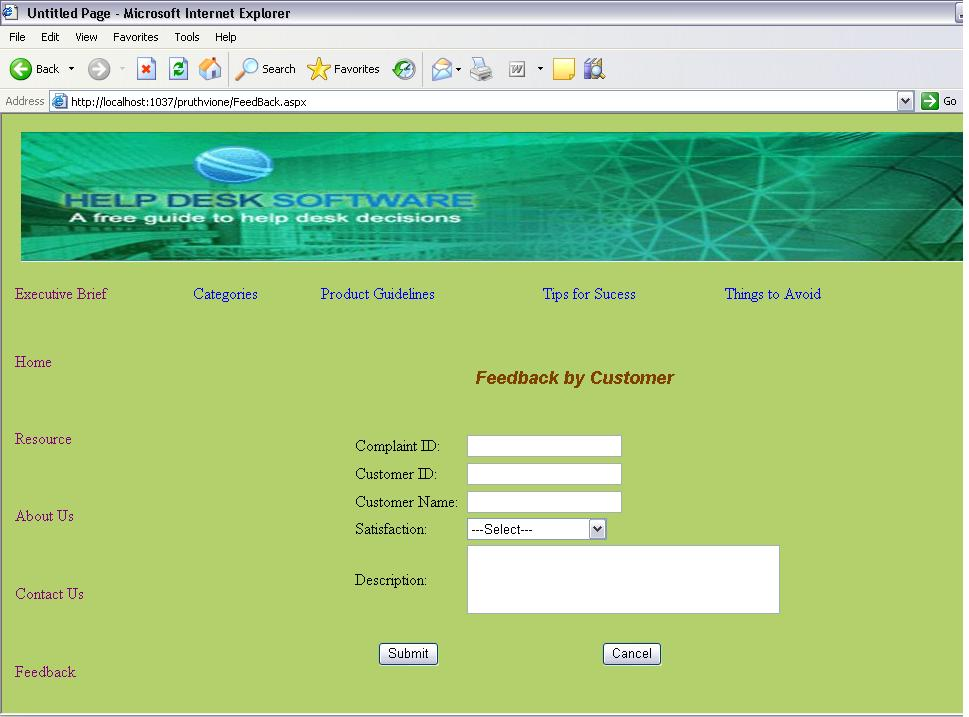 help desk project web based system projectsgeek feedback page