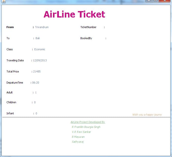Airline Ticket Reservation System Project Projectsgeek