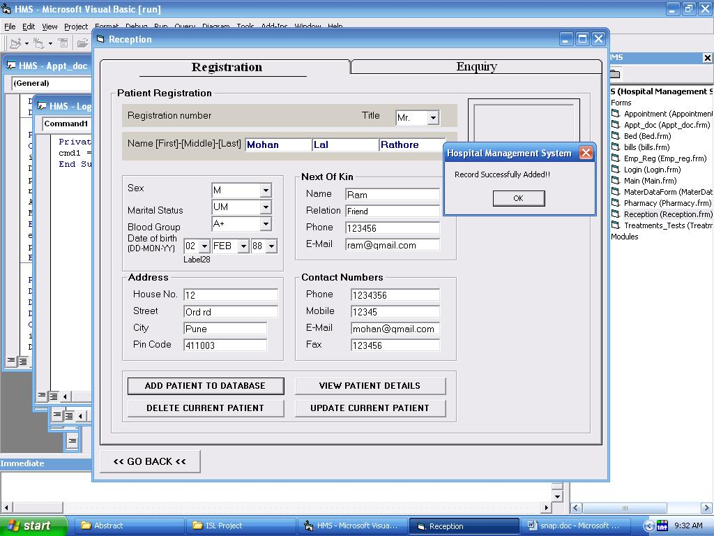 Hospital Management System Project In Visual Basic