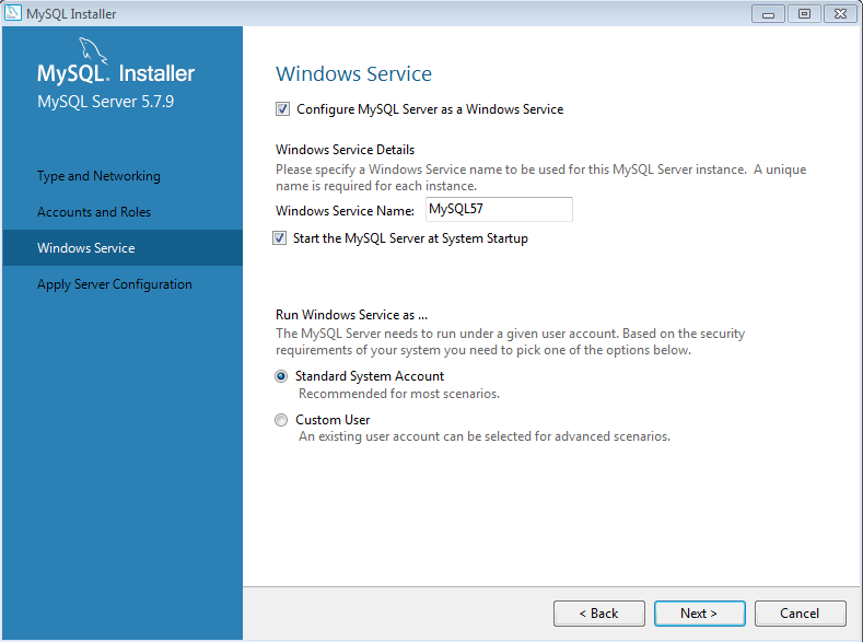 Windows Service MySql