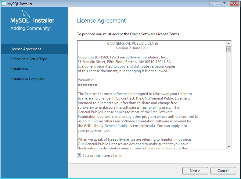 mysql accept agreement
