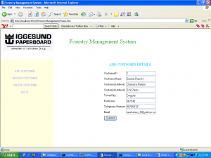 Forestry Management System add cutomer