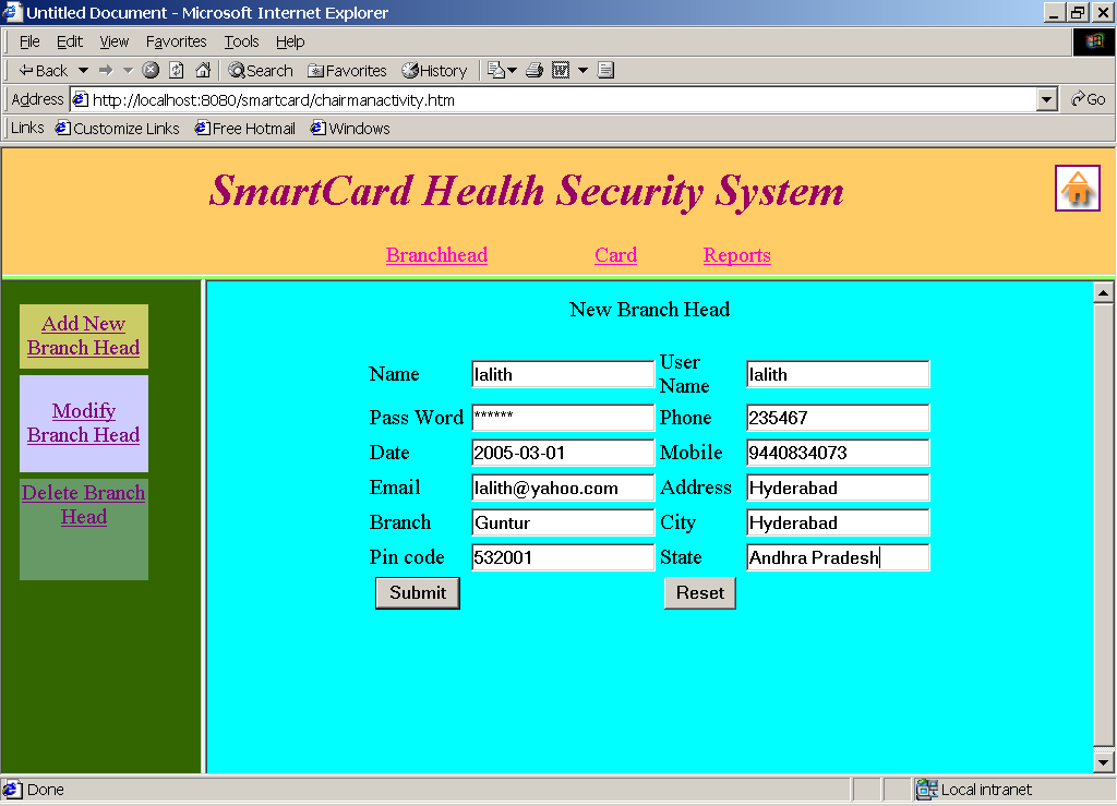 Hospital Health Card Project In Java Projectsgeek