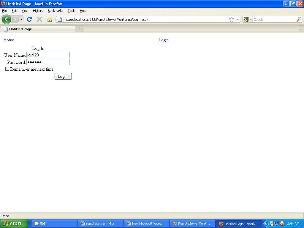 Admin login page