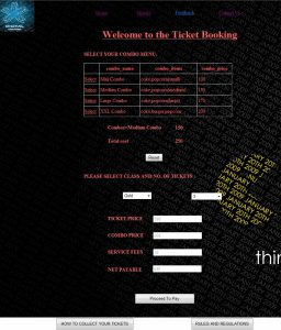 Ticket booking page